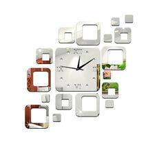 DIY Wall Clock 3D Crystal Mirror Living Room Gift Sticker Home Modern Decor CAX