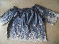 DENIM & CO.  CHAMBRY BLUE CROCHET EMBROIDERED 3/4  SLEEVE PEASANT TUNIC TOP  28W