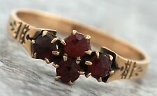 Antique Victorian 1890s Estate 10K Yellow Gold Engraved Ruby Cluster Ring
