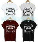 PLAYER 1 2 GAMER T SHIRT SET EAT SLEEP CONTROLLER GAME CONSOLE MATCHING GIFT