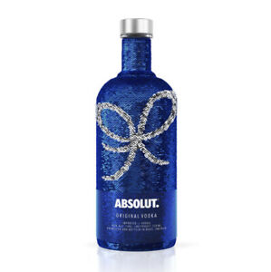Absolut Vodka BLUE SEQUIN Limited Edition 750 Ml bottle Sleeve Flips To Silver