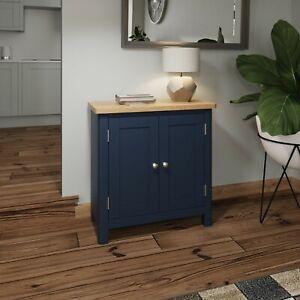 Dovedale Blue Small Sideboard / Painted Oak Wood Cupboard / Cabinet