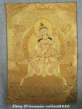 "24"" Tibet Buddhism Cloth Silk embroidery Guanyin Avalokitesvara Thangka mural"