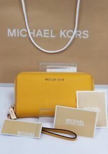 MICHAEL Michael Kors Women's Large Flat Phone Wristlet COLOR- SUNFLOWER NWT