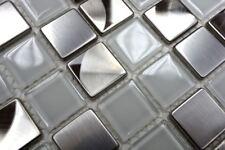 Mosaïque carreau acier inoxydable verre cristal blanc clair 129-0104_b  1 plaque