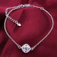925 Sterling Silver Ankle Bracelet Womens Anklet Adjustable Chain Foot Jewelry