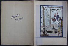 """Encart dépliant VINS NICOLAS """"Affiche Nectar & Félicité"""" 1931 imp. Draeger"""