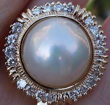 15mm Large Pearl 1ct I/VS Diamond Pendant 14k YG 24.8mm width