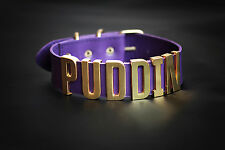 Harley Quinn PUDDIN Purple Choker Leather Suicide Squad necklace bdsm collar sex
