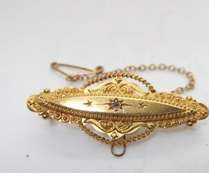 VICTORIAN 15CT GOLD MOURNING BROOCH
