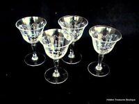 Noritake Gray Cut Etched Crystal Sasaki Bamboo Set of 4 Wine Cordial Glasses