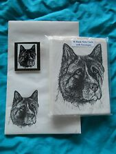 Akita Dog 3 Piece Set-Notepad, 6 Blank Notecards and Magnet - New