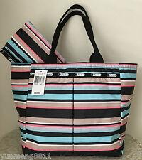 NWT LeSportsac Everygirl tote bag Purse tennis stripe black blue pink beige $82