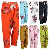 New Ladies Italian Floral Elastic Tie Waist Women's Linen Trousers Regular Sizes