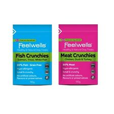 Feelwells 80% FISH or MEAT CRUNCHIES Crunchy Dog Puppy Mini Natural Treats 90g