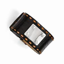 Stainless Steel Black Leather Orange Stitch ID Name Bracelet Free Engraving Gift