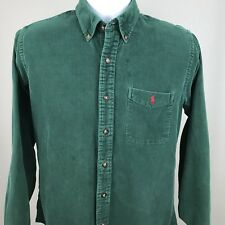 Ralph Lauren Mens Corduroy Button Front Shirt Vintage Green Red Size XL. C1