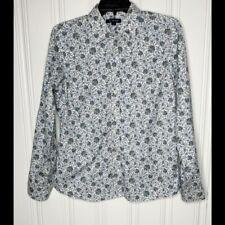 Lands' End White Blue Floral Button Shirt Size 10 Womens No Iron Oxford
