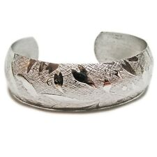 Lovely Sterling Silver Floral Cuff Bracelet With A Florentine Finish