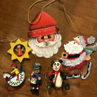 Lot of 6  Vintage Wooden Christmas Ornaments Hand Painted some Germany 3D EUC