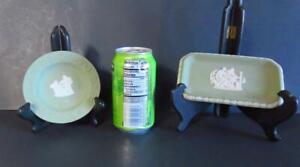 2 Vintage Wedgwood Green Jasperware Items - Round Dish & Small Tray