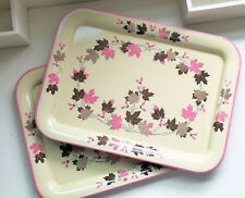 """Vintage 1950s Mid Century Fall Pink Brown Leaves TV Serving Tray Tin17.5"""""""