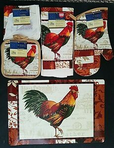 Kitchen Linen & Placemats Colorful Feather Rooster Theme, Select Item