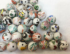 "Beads 45 Ceramic Porcelain White Asian Theme Symbols Animals 5/8"""