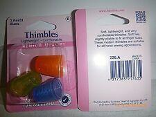 Hemline Set of 3 Lightweight Thimbles - Assorted Sizes.