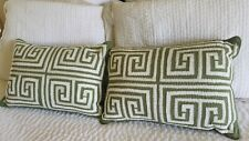 Southern living Green Breakfast Pillows with White Embroidery Greek Key...