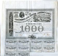 "1863  $1000  Confederate Bond   Watermark ""C. Ansell 1863"""