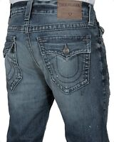 True Religion Men's Rocco Relaxed Skinny Jeans W Flap MH54NYL1 DFVM Blue