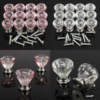 12pcs 25mm Diamond Crystal Glass Door Drawer Cabinet Wardrobe Pull Handle Knobs