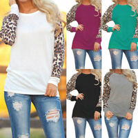 Women's Ladies Fashion Long Sleeve Loose T-Shirt Leopard Print Tops Blouse New