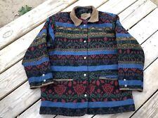 Woolrich Wool Suede Floral Blanket Coat Southwest Aztec Indian Jacket VTG Men M