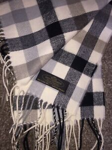 """Germany Made 100% Cashmere Cream Gray Black Scarf HAND TAILORED 12"""" X 66"""""""