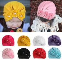Newborn Toddler Kids Baby Girls Flower Cotton Beanie Hat Winter Cap Cute Warm