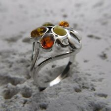 Size 9 (EU Size 60) Multi-Color BALTIC AMBER Ring, STERLING SILVER #1901