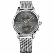 NEW HUGO BOSS 1513440 MENS MESH GREY DIAL JET FASHION CHRONOGRAPH WATCH UK STOCK