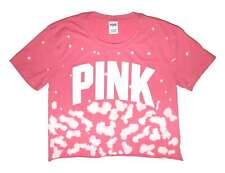 Victoria's Secret PINK Womens Pink Tie Dye Crop Top Tee