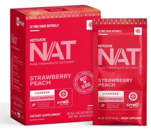 Pruvit Keto OS Nat Strawberry Peach (Charged & Caffeine Free) 5, 10 & 20 Packs
