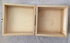 Wooden Storage, Craft Box w/ Metal Clasp & Hinged Lid Jewelry Container Trinket