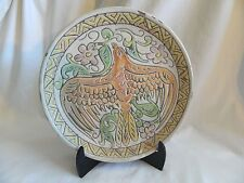 "Egyptian Ceramic Clay Plate Handmade Brown Green yellow Bird Flowers 10"""