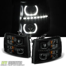 Black Smoke 2007-2013 Chevy Silverado 1500 2500 3500HD Headlights LED Halo Lamps