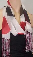 White Dot Print 100% Silk Scarf w/Fringe 60x13 NEW WITH TAGS