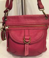 Fossil Hot Pink Leather Sasha Long Live Vintage CrossBody Purse