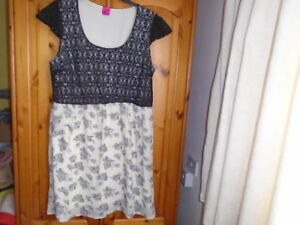1 Grey and ivory floral dress, lined black lace bodice, GEORGE (G21 range), 20