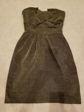 H&M Gold Black Metallic Mini Cocktail Evening Strapless Dress size 2 or 32