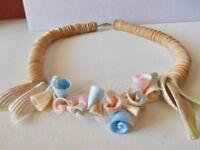 Vintage Beige / Pink / Blue Shell Necklace