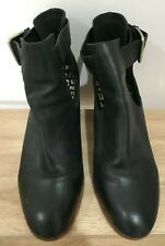 gorman Black Round Toe Leather Cut Out Buckle Side Stacked Heel Boots 42/10.5